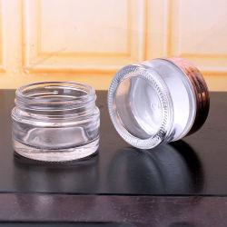 أوعية من التوابل الزجاجية المستديرة القصيرة سعة 2 أونصة مع أغطية بلاستيكية
