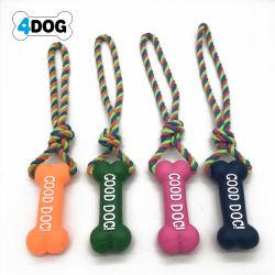 ロープが付いているピカピカの犬のおもちゃ