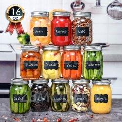 12 Pack 16 OZ do vidro de boca Regular Mason boiões boiões de conservas de vidro com tampas herméticas metálicas e plásticas jarros de conservas de armazenamento de alimentos