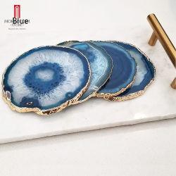 """3.5 ~ 4"""" 4-Pack drinque coasters com aro de ouro Brasileiro Natural Blue Agate fatias de madeira na caixa de oferta"""