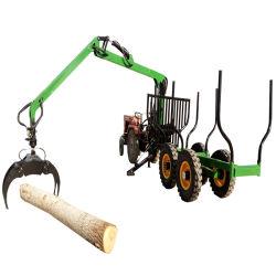 6 ton Equipamentos Florestais de carga do tractor de reboque de Log do reboque, reboque de madeira, Vagão de log com grua garra (com unidade de potência)
