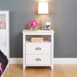 Mayorista de muebles antiguos en espejo blanco Tall mesita de noche que viven los muebles del dormitorio con 2 cajones+maneja Metal