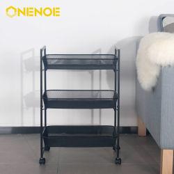 Onenoe muebles modernos de almacenamiento Multifunción carro rodante con canastas de 3 niveles y maneja