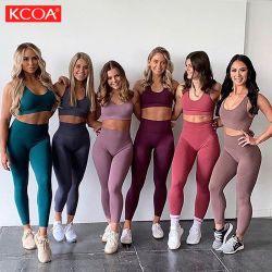 Venda por grosso de 2 Peças calças de treino Perneiras Bra Casual Activa Fitness Contínua Sport Ginásio de Esportes de desgaste de ioga