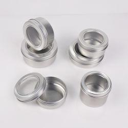 20ml 60ml 100ml 150ml 200ml 250ml kundenspezifischer Haar-Pomade-Behälter-runder Kasten-Aluminiumglas-Blechdose mit freiem Belüftung-Fenster
