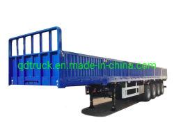 3축 60톤 운송 플랫베드 컨테이너 캐리어 세미 트레일러 사이드월 유틸리티 화물 중부하 트럭 트레일러 포함