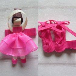 2つのバレエのヘアークリップの暗いピンク(JD200304013)のかわいいセット