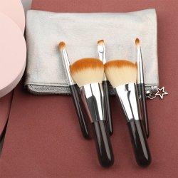 mini schwarzer hölzerner Griff-synthetischer Verfassungs-Pinsel-Starter-Kasten Kt der Qualitäts-5PCS für kosmetische Berufsschönheits-Hilfsmittel
