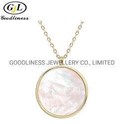 Echte Perle-Shell-hängende Form-Schmucksache-Messinganweisung-Halskette