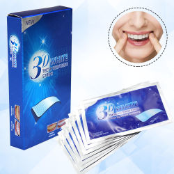 Comercio al por mayor profesional dental de etiqueta privada de la marca el logotipo de Flash sabor menta 3D Juegos de tiras de Blanqueamiento Dental