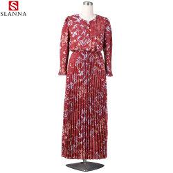 긴 소매 회교도 여자 꽃 인쇄된 주름을 잡은 시퐁 복장