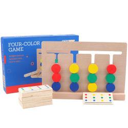 Principios para la Educación Four-Color a pie de madera Juego de Puzzle a los niños la coincidencia de color el pensamiento lógico juguete inteligente de formación