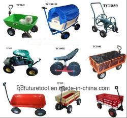 Jardim madeira vagão do carrinho com rodas pneumáticas Kid vagão com painéis de madeira tc1812