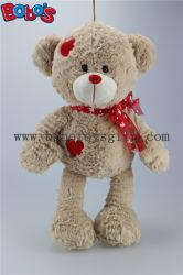 Juguete suave del oso de la felpa del abrazo del color del trigo con la corrección roja del corazón en carrocería y pies de la cinta