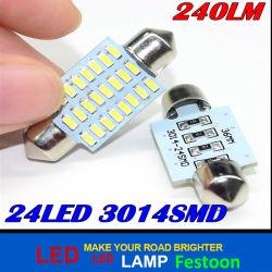 Bulbo -36mm-1.5W DC12V do diodo emissor de luz 24SMD auto SMD da luz 3014 do festão