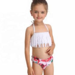 2021 Summer Kids Grils de maillots de bain 2 pièce Maillot de bain Maillot de Bain enfants Charmant petit Gril Bikini avec des glands