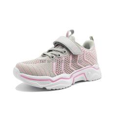 Sprung-Sommer-Mädchen-Kind-Kind-Sport bereift weiße rosafarbene Turnschuhe