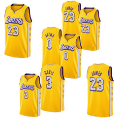 2020 Nova Última Lakers Sports Lebron James Embroideried camisolas de basquete