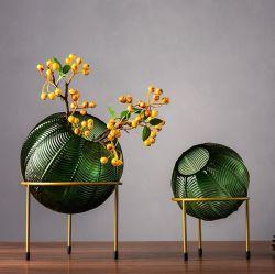 ボールショート、ディワーフファットカラー、エンボス加工のオリジナリティグラス花瓶 装飾