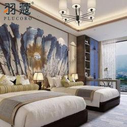 100% قطر فندق كتّان سرير محدّد بيضاء لون جاكار كتّان لأنّ فندق