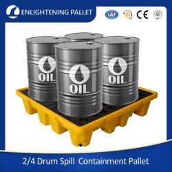 중부하 작업용 산업용, 내구성이 뛰어난 4방향 단일 측면 바닥/지면 사용 4/2/1 드럼 누출 방지 오일 방지 HDPE 플라스틱 유출 팔레트 오일 배럴