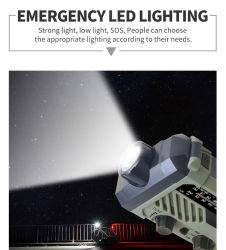 مصباح LED كهربائي متعدد الوظائف قابل لإعادة الشحن يعمل بالدوران الشمسي مزود بخاصية التشغيل مع قراءة AM FM NOAA راديو طوارئ، شحن 2000mAh Power Bank للهاتف الخلوي