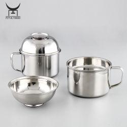 كوب طعام من الفولاذ المقاوم للصدأ في وعاء النودلز الفوري وعاء الحساء مع مقبض