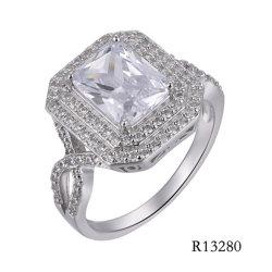 Estilo elegante 925 Prateado com anel de pedra principal CZ