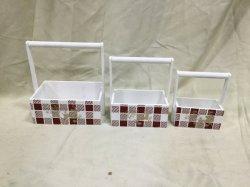 Patio de Navidad cesta portátil de madera Caja de regalo decorativos