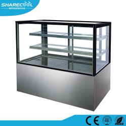 acier inoxydable vitrine de présentation de deux étagères de base de gâteau