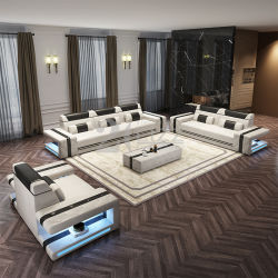 Современный люкс «Lounges» с отделкой кожей и отделкой кожей LED для мебели для домашних гостиной
