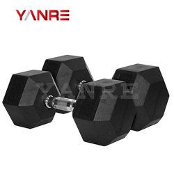 Salle de Gym de gros poids du matériel de fitness Accessoires Crossfit haltère hexagonal recouvert de caoutchouc