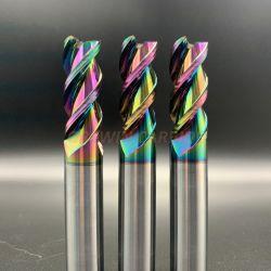 Extremo de carburo de tungsteno Rainbow Molino de revestimiento DLC de corte en aluminio