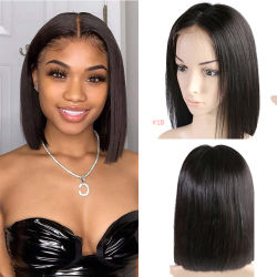 """Angelbella 13X6 Lace Front Virgin cheveux court Bob perruques 8""""-14"""" 180% Densité perruque de cheveux brésiliens droites Remy"""