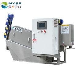 Difusor tipo tornillo apiladas filtro prensa de la máquina de deshidratación de lodos