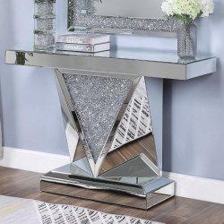 Un design moderne Diamond écrasé Table console en miroir de l'argent salle de séjour Table console en verre
