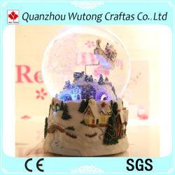 hecho personalizado resina baratos música de Navidad Snow Globe