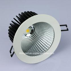 15W 18W COB finition blanche Downlights LED Blanc chaud à gradation s/n