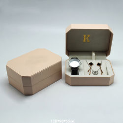 Boîte en plastique de forme octogonale fixées pour regarder et de bijoux, de couleur or personnalisé Watch Emballage avec des bijoux ensembles boîte avec insert en velours