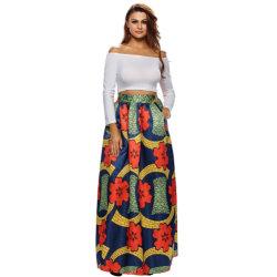 Floral colorido Mulheres Africanas Deluxe Imprimir Navy uma linha Maxi saia envolvente