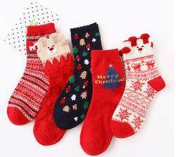 Comercio al por mayor stock de Algodón rojo mujeres Tobilleras calcetines de Navidad