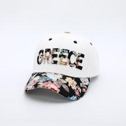 6 Panneau de gros Fashion Lady Grèce noir Casquette de baseball floral avec le correctif