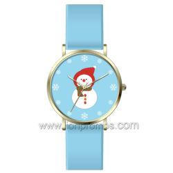 Il pupazzo di neve dei regali di natale scherza la vigilanza di Quatz Assorted regalo delle cinghie di cuoio di colore del condimento