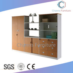 Armario moderno mobiliario de oficina Personalizar aglomerado Oficina Estantería con pantalla Rack (CAS-FC18501)