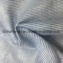 Licht gewicht stof 52% linnen 48% katoen 130GSM Geweven garen-geverfd Blauw&Wit streep Voor Lady Wear