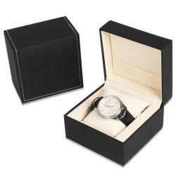 2018革贅沢な黒PUは腕時計の収納箱のギフト用の箱、高品質PUの革黒い正方形の単一の腕時計の収納箱を選抜する