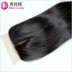 Высокая плотность 4X4 шелка закрытия базы Виргинские филиппинских шелк прямо на Ближнем пробор волос человека