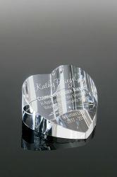 슬랜티드 클리어 맞춤형 맞춤형 유리 크리스탈 하트 조각된 페이퍼웨이트(판매용)(#1453)
