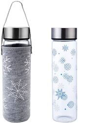 Стеклянная бутылка воды 18oz с изображением снежинки для печати детские поездки школы