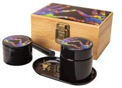 다채로운 은닉물 상자 - Smellproof 은닉물 상자 - 나물 분쇄기, 큰 은닉물 단지 (UV 유리), 상여를 위한 금속 회전 쟁반 및 전 구른 콘! (다채로운 심혼 모양